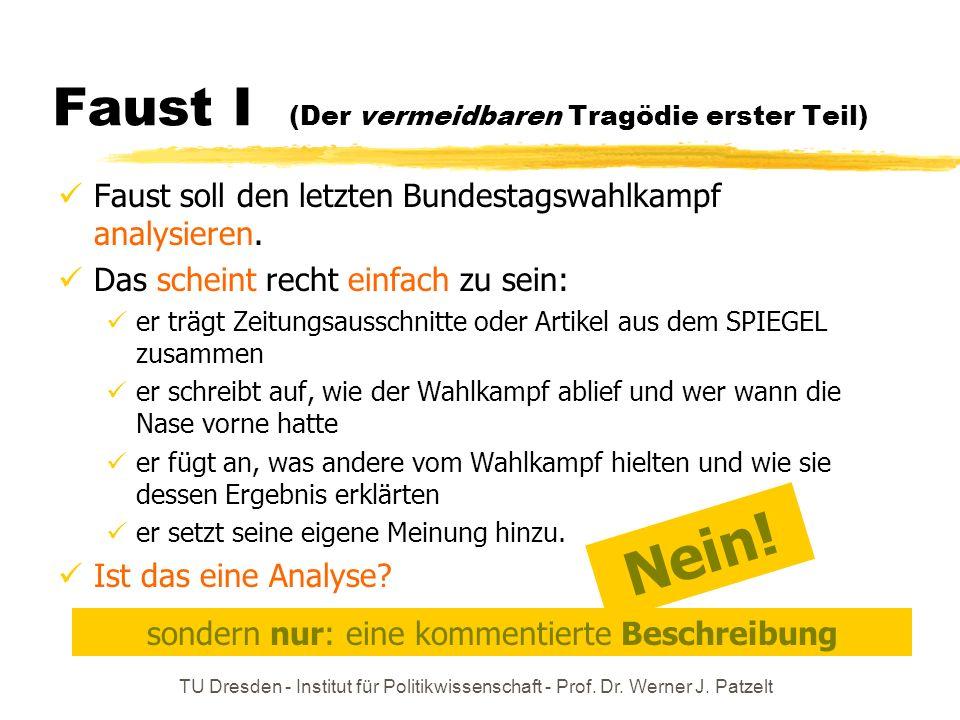 TU Dresden - Institut für Politikwissenschaft - Prof. Dr. Werner J. Patzelt Faust I (Der vermeidbaren Tragödie erster Teil) Faust soll den letzten Bun