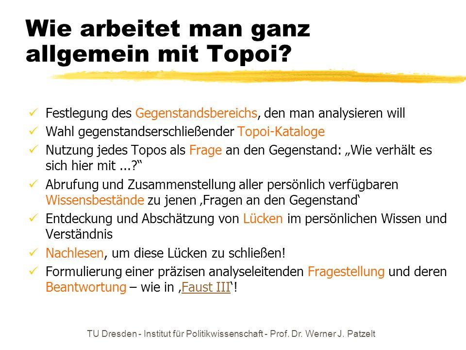 TU Dresden - Institut für Politikwissenschaft - Prof. Dr. Werner J. Patzelt Wie arbeitet man ganz allgemein mit Topoi? Festlegung des Gegenstandsberei