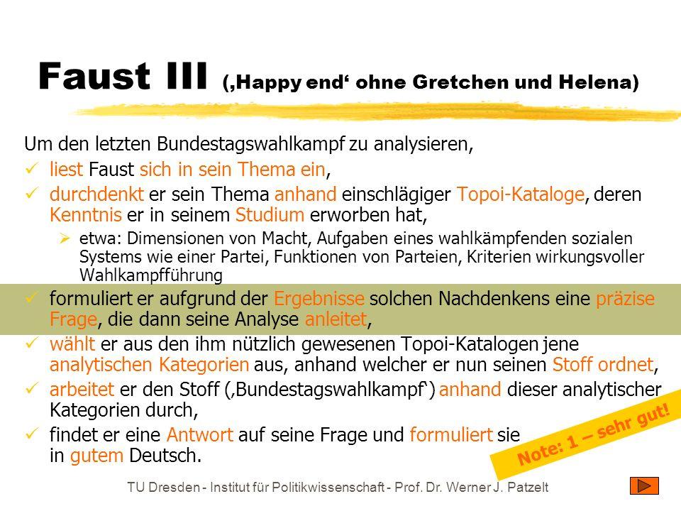 TU Dresden - Institut für Politikwissenschaft - Prof. Dr. Werner J. Patzelt Faust III (Happy end ohne Gretchen und Helena) Um den letzten Bundestagswa
