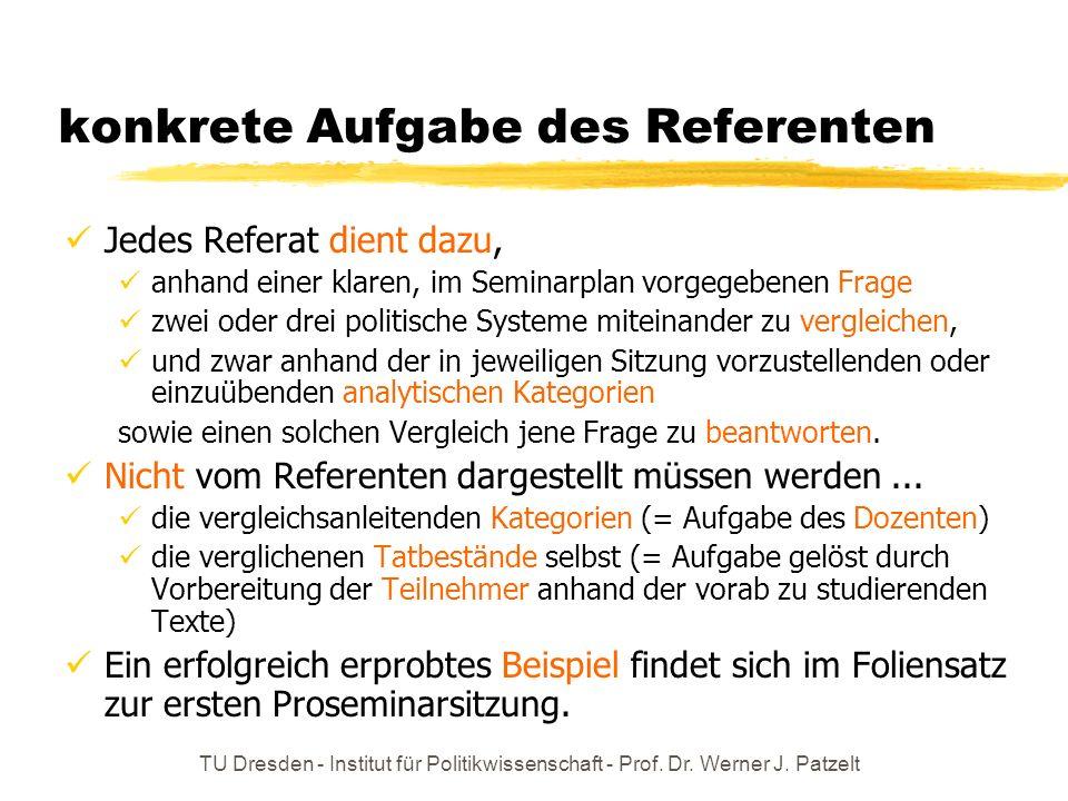 TU Dresden - Institut für Politikwissenschaft - Prof. Dr. Werner J. Patzelt konkrete Aufgabe des Referenten Jedes Referat dient dazu, anhand einer kla
