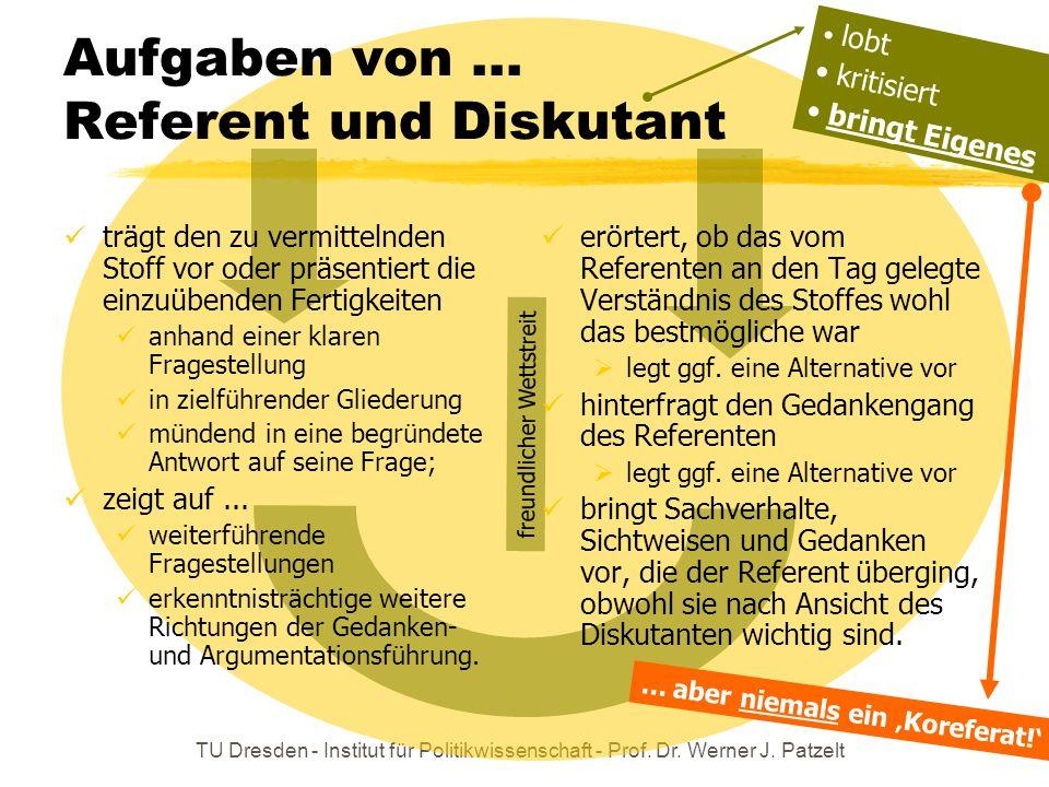 TU Dresden - Institut für Politikwissenschaft - Prof. Dr. Werner J. Patzelt Aufgaben von... Referent und Diskutant trägt den zu vermittelnden Stoff vo