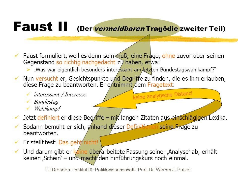 TU Dresden - Institut für Politikwissenschaft - Prof. Dr. Werner J. Patzelt Faust II (Der vermeidbaren Tragödie zweiter Teil) keine analytische Distan