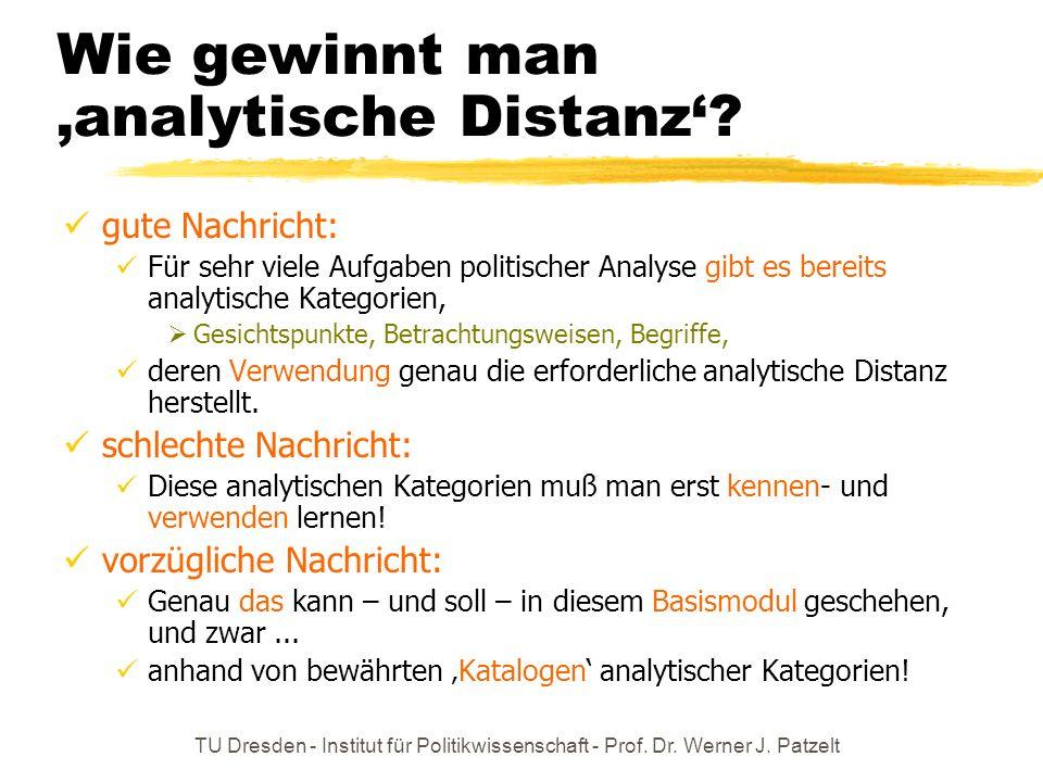 TU Dresden - Institut für Politikwissenschaft - Prof. Dr. Werner J. Patzelt Wie gewinnt man analytische Distanz? gute Nachricht: Für sehr viele Aufgab