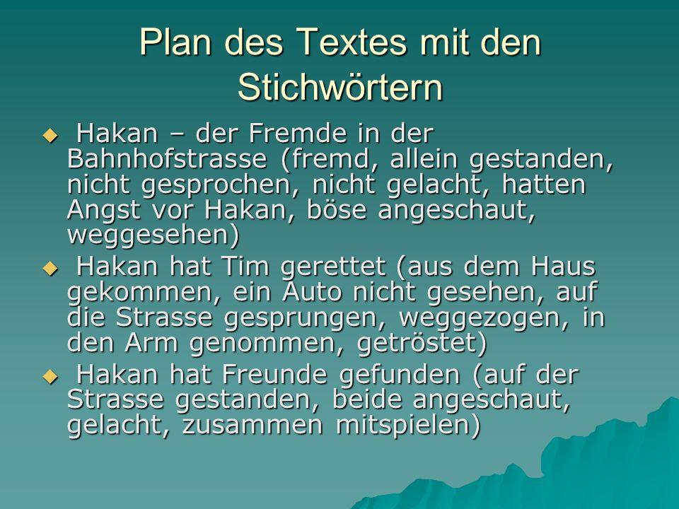 Plan des Textes mit den Stichwörtern Hakan – der Fremde in der Bahnhofstrasse (fremd, allein gestanden, nicht gesprochen, nicht gelacht, hatten Angst