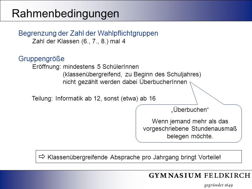Begrenzung der Zahl der Wahlpflichtgruppen Zahl der Klassen (6., 7., 8.) mal 4 Gruppengröße Eröffnung: mindestens 5 SchülerInnen (klassenübergreifend,