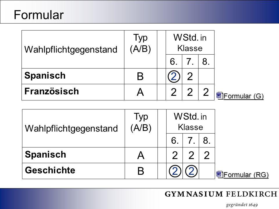 Formular 22B Geschichte 222A Spanisch 8.7.6. WStd. in Klasse Typ (A/B) Wahlpflichtgegenstand Formular (RG) Formular (RG) 222A Französisch 22B Spanisch
