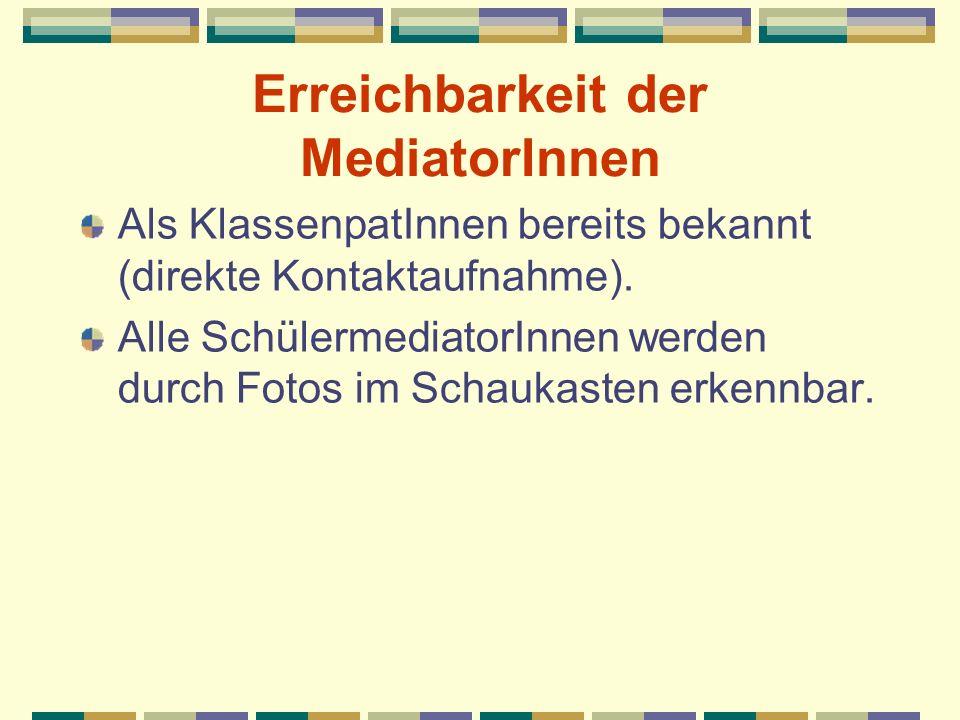 Erreichbarkeit der MediatorInnen Als KlassenpatInnen bereits bekannt (direkte Kontaktaufnahme). Alle SchülermediatorInnen werden durch Fotos im Schauk