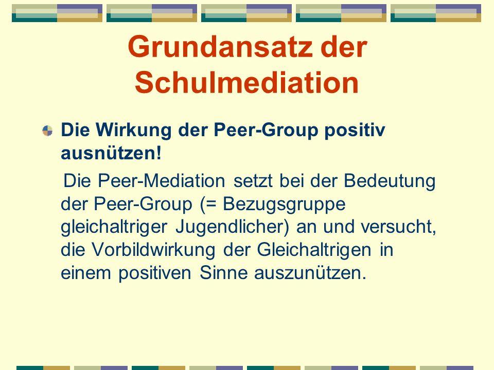Grundansatz der Schulmediation Die Wirkung der Peer-Group positiv ausnützen! Die Peer-Mediation setzt bei der Bedeutung der Peer-Group (= Bezugsgruppe