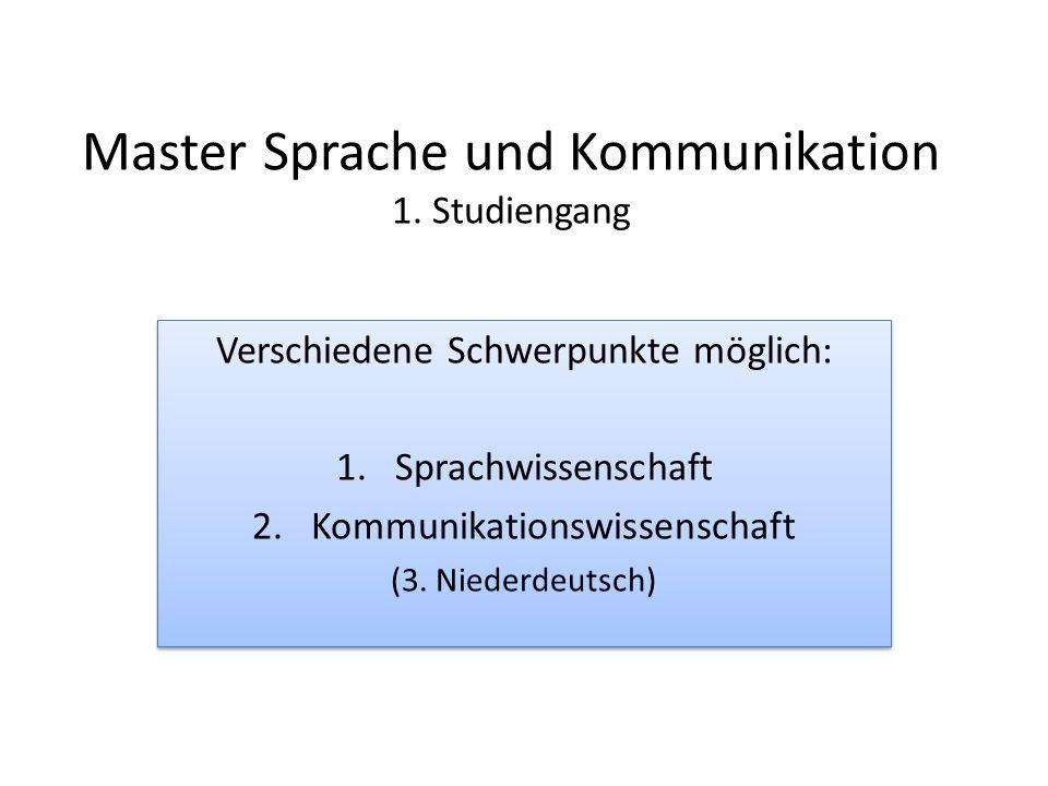 Master Sprache und Kommunikation 1. Studiengang Verschiedene Schwerpunkte möglich: 1.Sprachwissenschaft 2.Kommunikationswissenschaft (3. Niederdeutsch