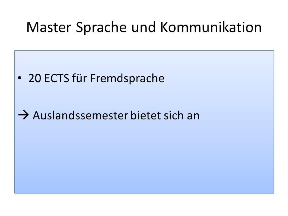 Master Sprache und Kommunikation 20 ECTS für Fremdsprache Auslandssemester bietet sich an 20 ECTS für Fremdsprache Auslandssemester bietet sich an
