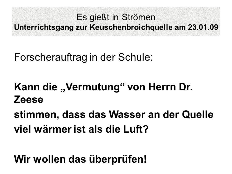 Es gießt in Strömen Unterrichtsgang zur Keuschenbroichquelle am 23.01.09 Forscherauftrag in der Schule: Kann die Vermutung von Herrn Dr. Zeese stimmen