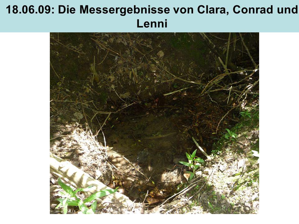 18.06.09: Die Messergebnisse von Clara, Conrad und Lenni