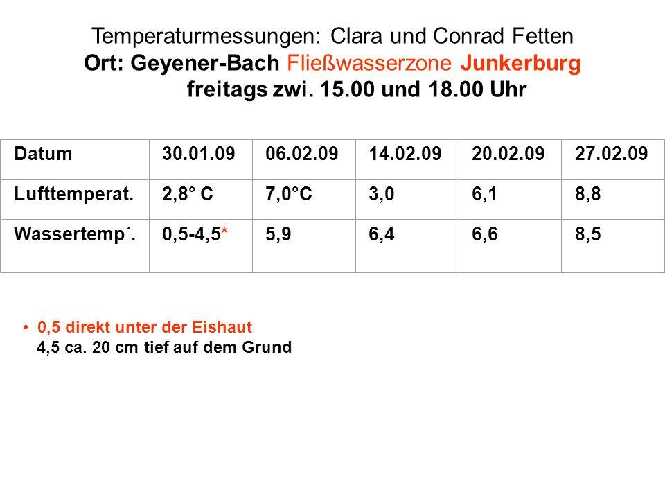 Temperaturmessungen: Clara und Conrad Fetten Ort: Geyener-Bach Fließwasserzone Junkerburg freitags zwi. 15.00 und 18.00 Uhr Datum30.01.0906.02.0914.02
