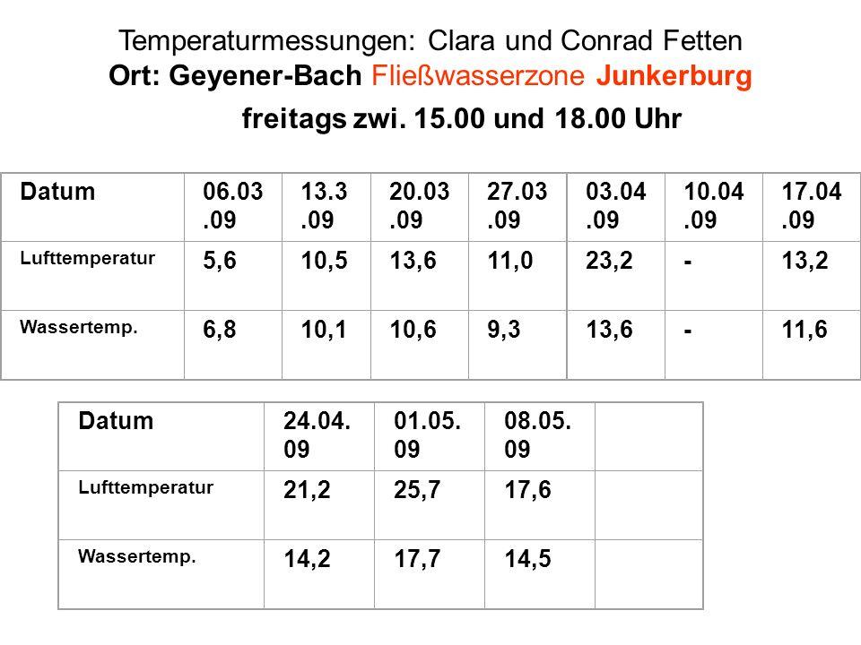 Temperaturmessungen: Clara und Conrad Fetten Ort: Geyener-Bach Fließwasserzone Junkerburg freitags zwi. 15.00 und 18.00 Uhr Datum06.03.09 13.3.09 20.0