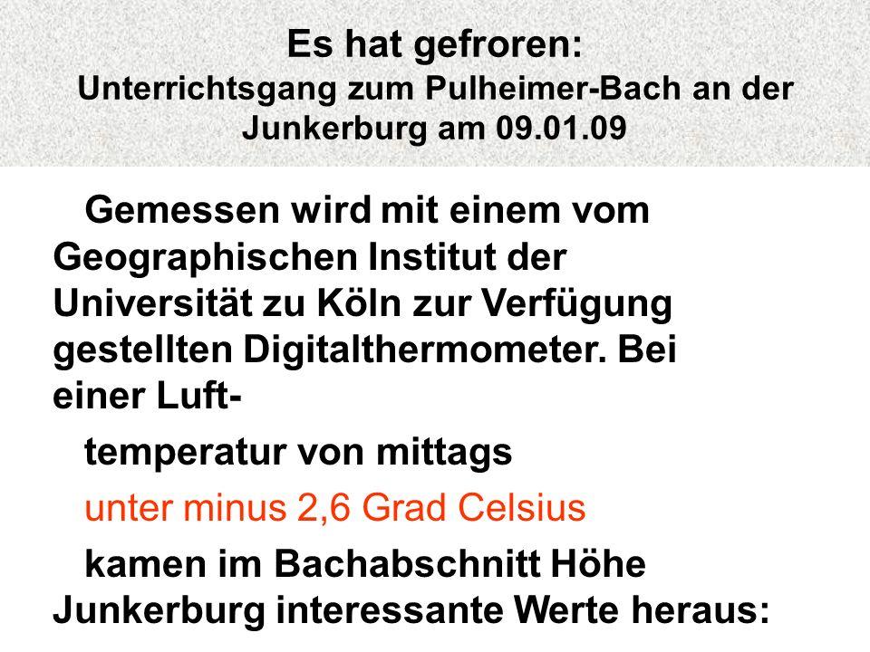 Es hat gefroren: Unterrichtsgang zum Pulheimer-Bach an der Junkerburg am 09.01.09 Gemessen wird mit einem vom Geographischen Institut der Universität