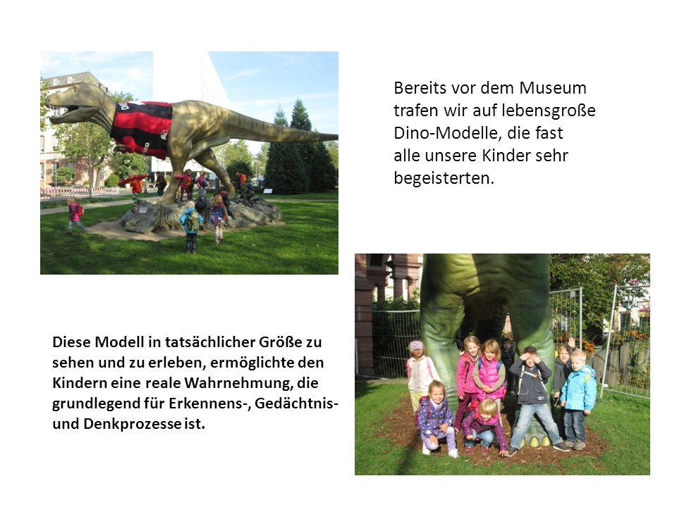 Bereits vor dem Museum trafen wir auf lebensgroße Dino-Modelle, die fast alle unsere Kinder sehr begeisterten. Diese Modell in tatsächlicher Größe zu