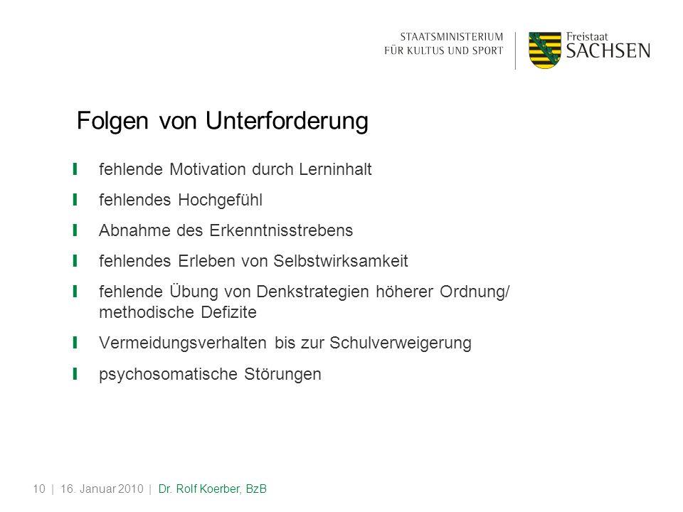 | 16. Januar 2010 | Dr. Rolf Koerber, BzB10 Folgen von Unterforderung fehlende Motivation durch Lerninhalt fehlendes Hochgefühl Abnahme des Erkenntnis