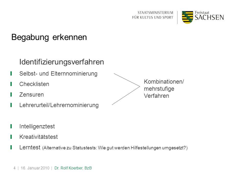 | 16. Januar 2010 | Dr. Rolf Koerber, BzB4 Begabung erkennen Identifizierungsverfahren Selbst- und Elternnominierung Checklisten Zensuren Lehrerurteil