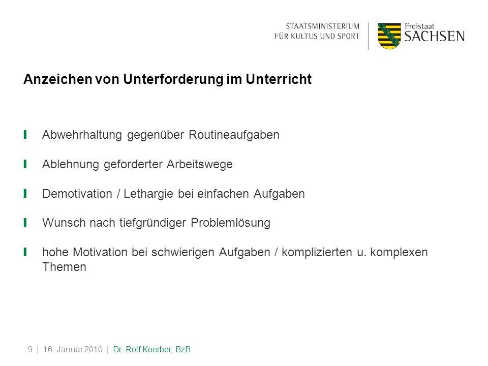 | 16. Januar 2010 | Dr. Rolf Koerber, BzB9 Anzeichen von Unterforderung im Unterricht Abwehrhaltung gegenüber Routineaufgaben Ablehnung geforderter Ar