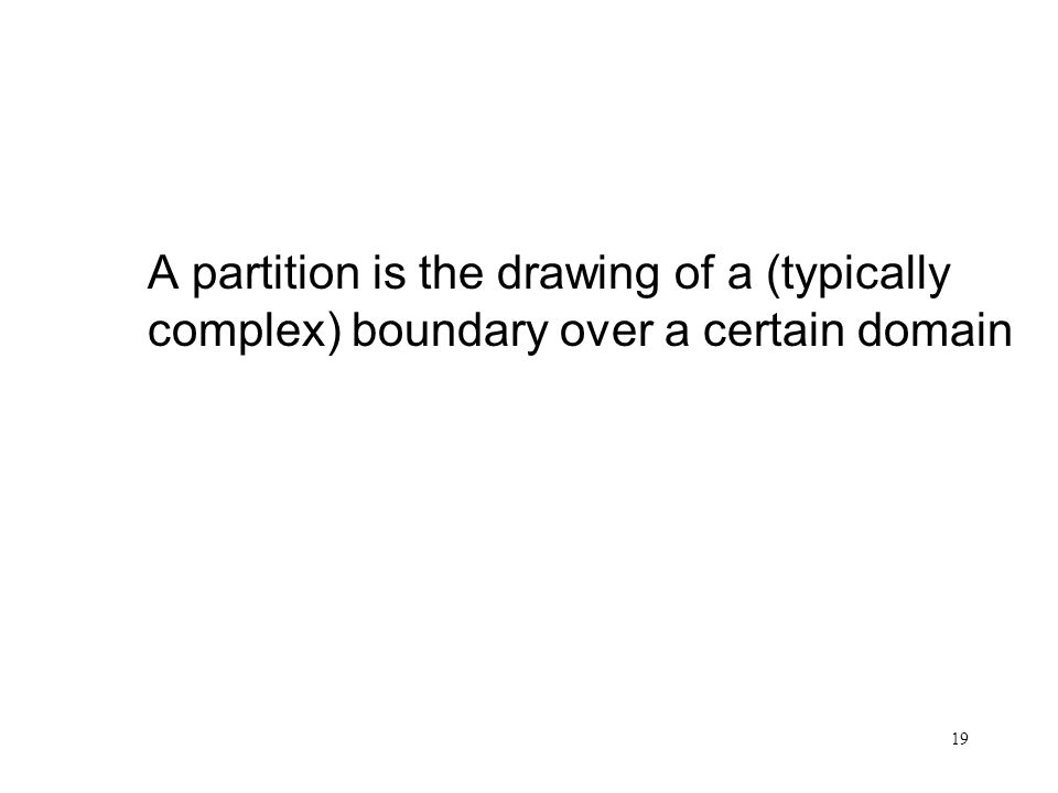 19 Partition A partition is the drawing of a (typically complex) boundary over a certain domain