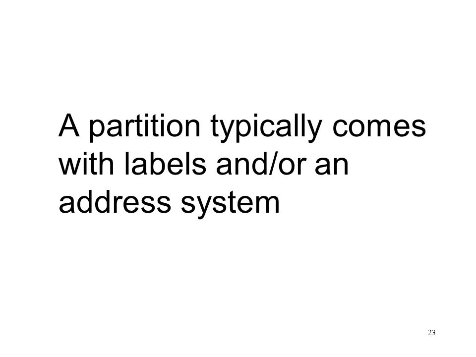 23 Label/Address System A partition typically comes with labels and/or an address system