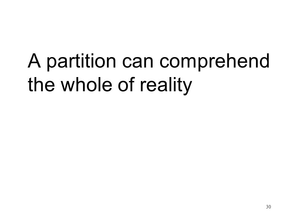 30 A partition can comprehend the whole of reality