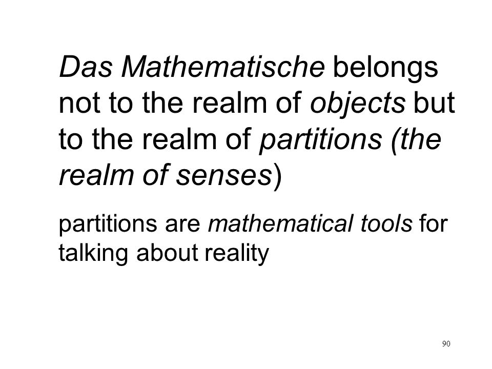 90 Das Mathematische belongs not to the realm of objects but to the realm of partitions (the realm of senses) partitions are mathematical tools for ta