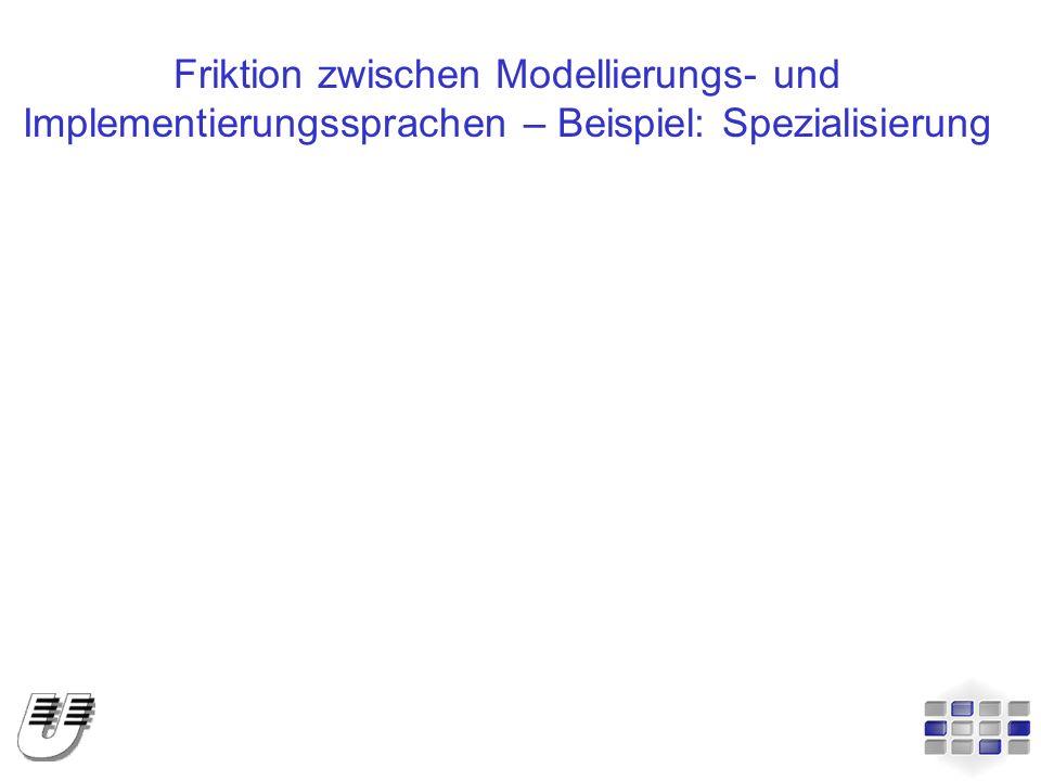 Friktion zwischen Modellierungs- und Implementierungssprachen – Beispiel: Spezialisierung