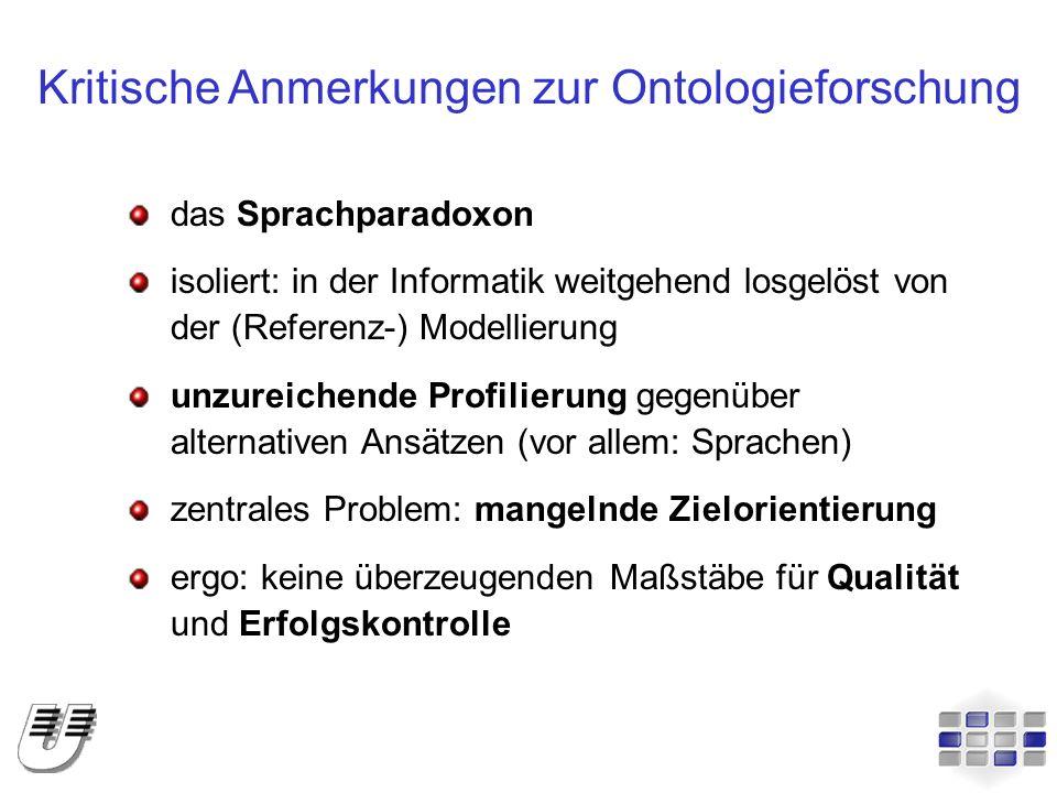 Kritische Anmerkungen zur Ontologieforschung das Sprachparadoxon isoliert: in der Informatik weitgehend losgelöst von der (Referenz-) Modellierung unz