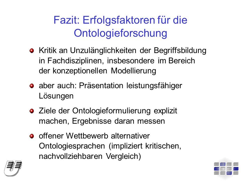 Fazit: Erfolgsfaktoren für die Ontologieforschung Kritik an Unzulänglichkeiten der Begriffsbildung in Fachdisziplinen, insbesondere im Bereich der kon