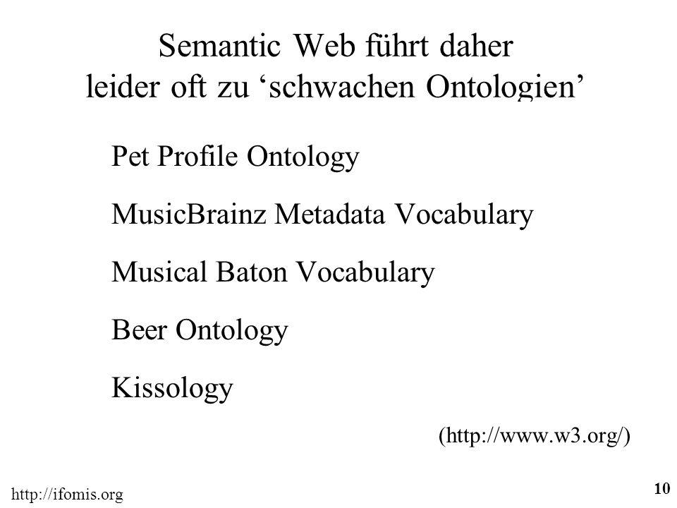 http://ifomis.org 10 Semantic Web führt daher leider oft zu schwachen Ontologien Pet Profile Ontology MusicBrainz Metadata Vocabulary Musical Baton Vocabulary Beer Ontology Kissology (http://www.w3.org/)