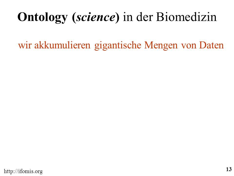 http://ifomis.org 13 Ontology (science) in der Biomedizin wir akkumulieren gigantische Mengen von Daten