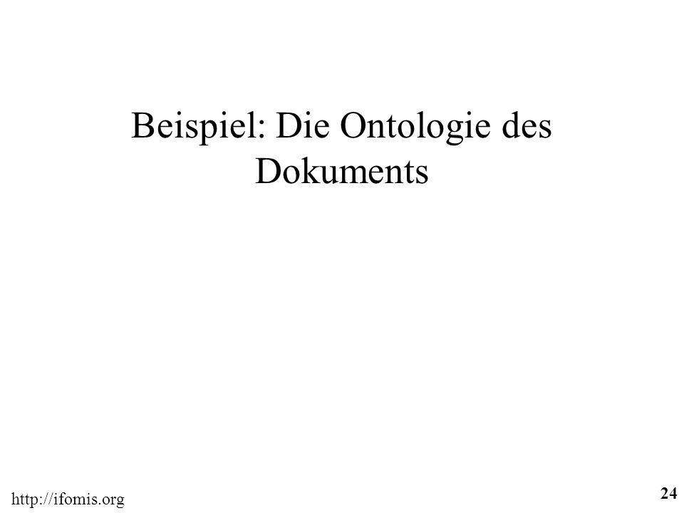 http://ifomis.org 24 Beispiel: Die Ontologie des Dokuments