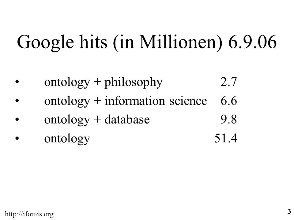 http://ifomis.org 3 Google hits (in Millionen) 6.7.06 ontology + philosophy 2.7 ontology + information science 6.6 ontology + database 9.8 ontology 51