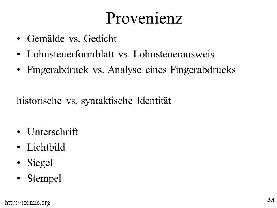 http://ifomis.org 33 Provenienz Gemälde vs.Gedicht Lohnsteuerformblatt vs.