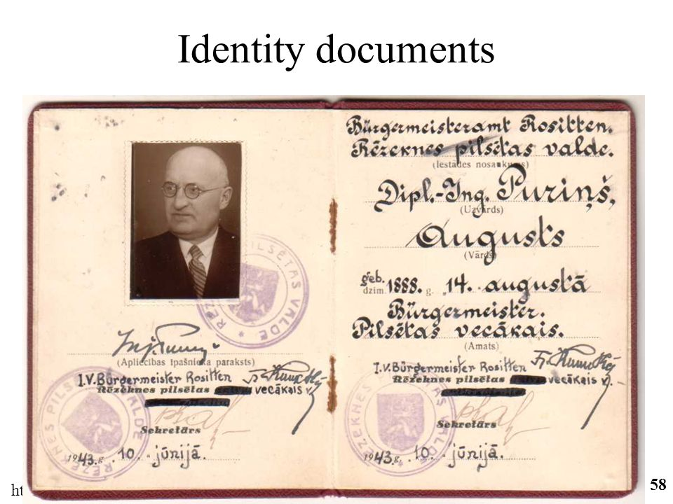 http://ifomis.org 58 Identity documents