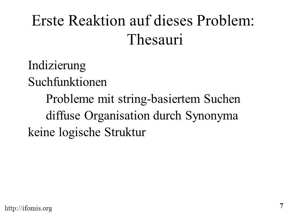 7 Erste Reaktion auf dieses Problem: Thesauri Indizierung Suchfunktionen Probleme mit string-basiertem Suchen diffuse Organisation durch Synonyma keine logische Struktur