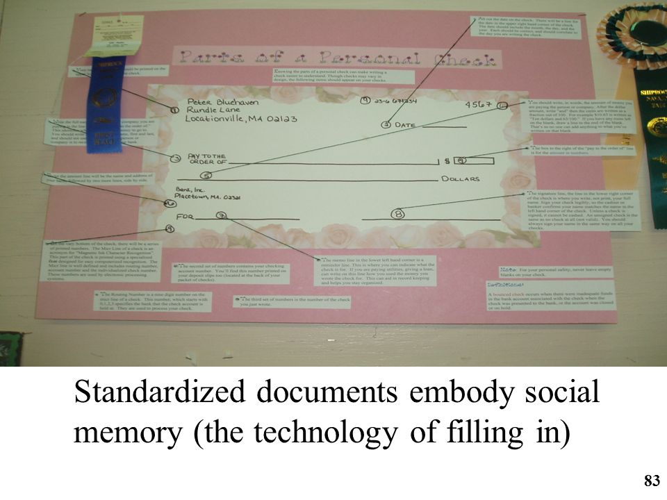 http://ifomis.org 83 Standardized documents embody social memory (the technology of filling in)