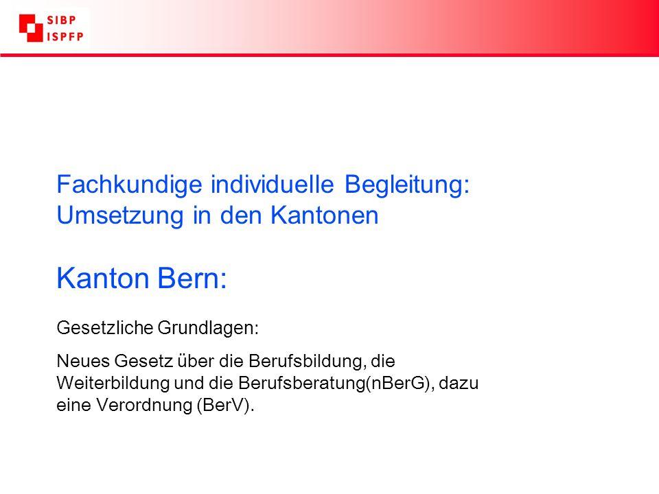 Fachkundige individuelle Begleitung: Umsetzung in den Kantonen Kanton Bern: Gesetzliche Grundlagen : Neues Gesetz über die Berufsbildung, die Weiterbildung und die Berufsberatung(nBerG), dazu eine Verordnung (BerV).