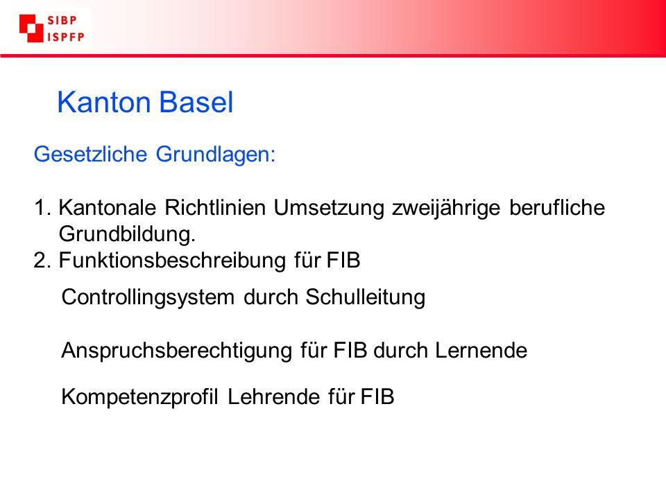 Kanton Basel Gesetzliche Grundlagen: 1.Kantonale Richtlinien Umsetzung zweijährige berufliche Grundbildung.
