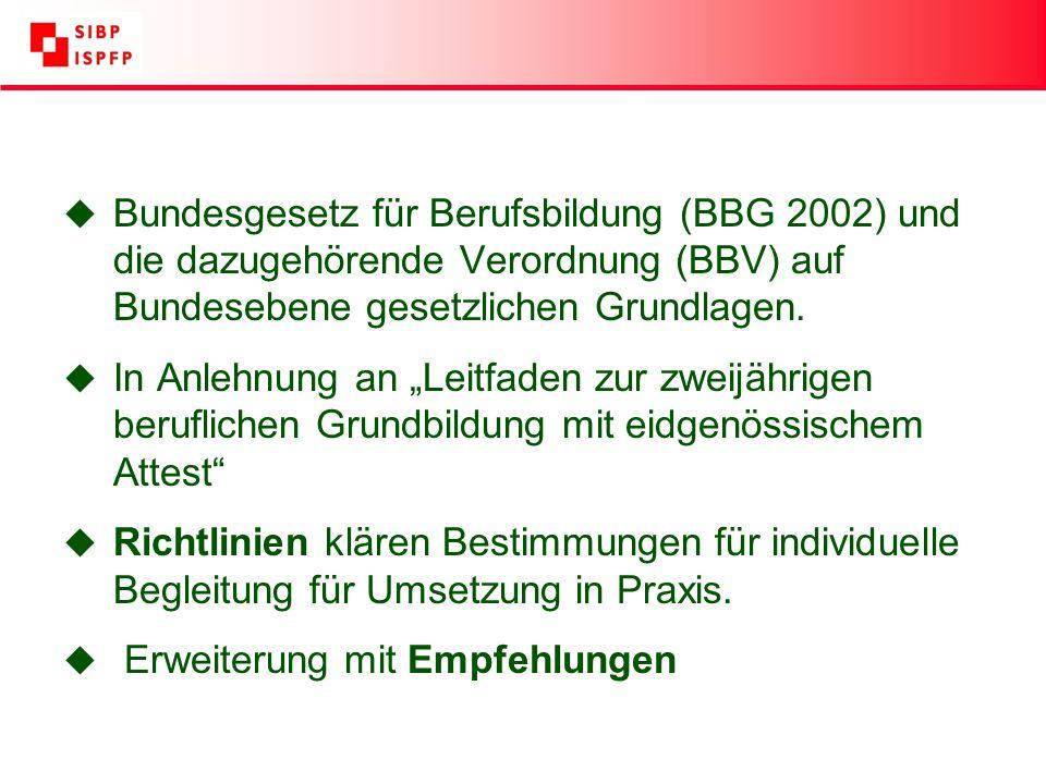 u Bundesgesetz für Berufsbildung (BBG 2002) und die dazugehörende Verordnung (BBV) auf Bundesebene gesetzlichen Grundlagen.