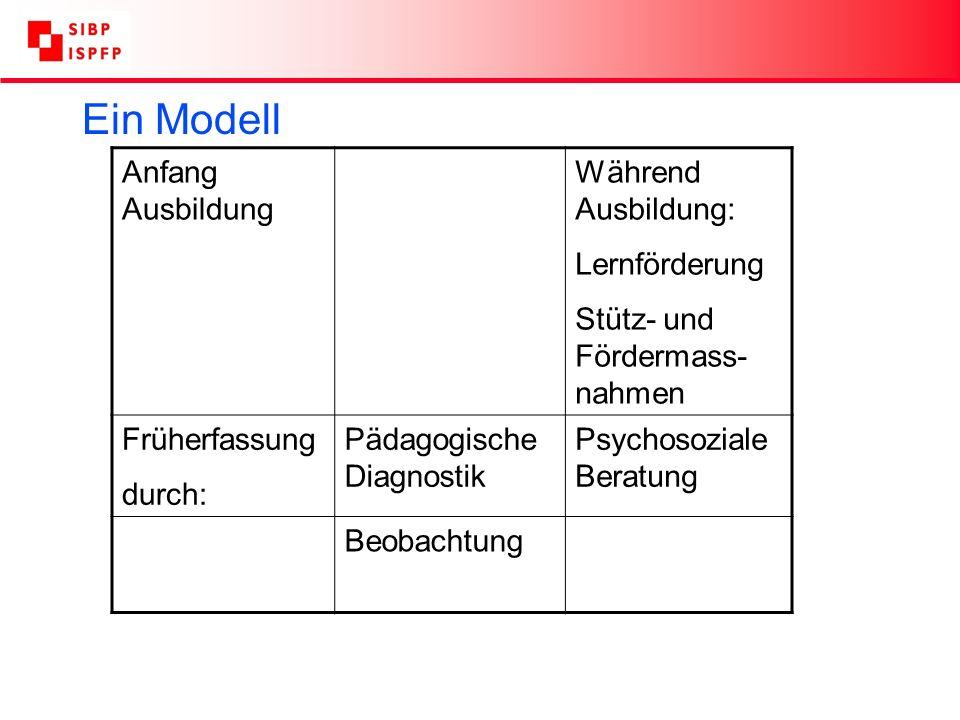 Ein Modell Anfang Ausbildung Während Ausbildung: Lernförderung Stütz- und Fördermass- nahmen Früherfassung durch: Pädagogische Diagnostik Psychosoziale Beratung Beobachtung