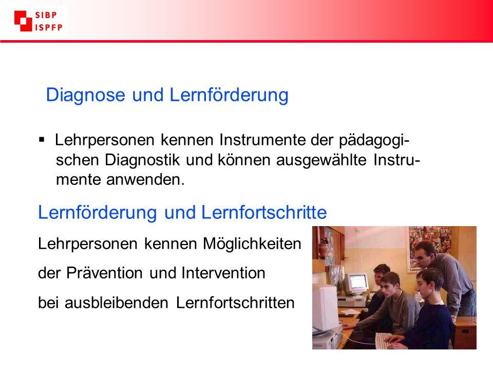 Diagnose und Lernförderung Lehrpersonen kennen Instrumente der pädagogi- schen Diagnostik und können ausgewählte Instru- mente anwenden.