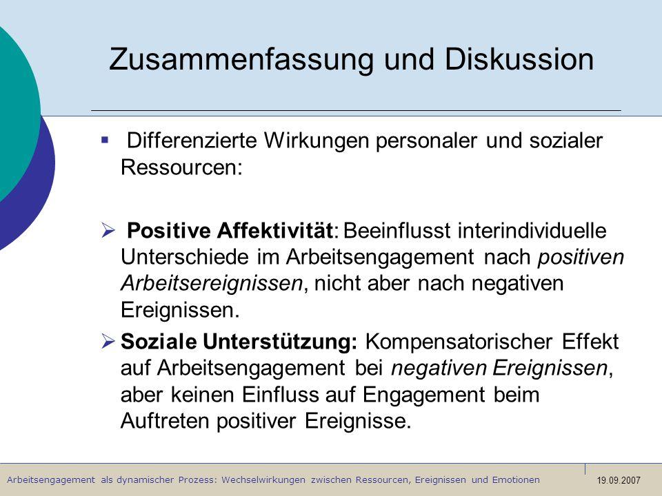 Arbeitsengagement als dynamischer Prozess: Wechselwirkungen zwischen Ressourcen, Ereignissen und Emotionen 19.09.2007 Zusammenfassung und Diskussion D