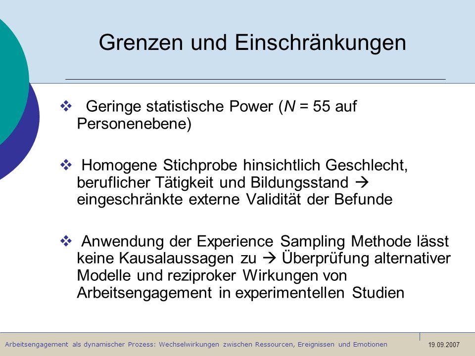 Arbeitsengagement als dynamischer Prozess: Wechselwirkungen zwischen Ressourcen, Ereignissen und Emotionen 19.09.2007 Grenzen und Einschränkungen Geri