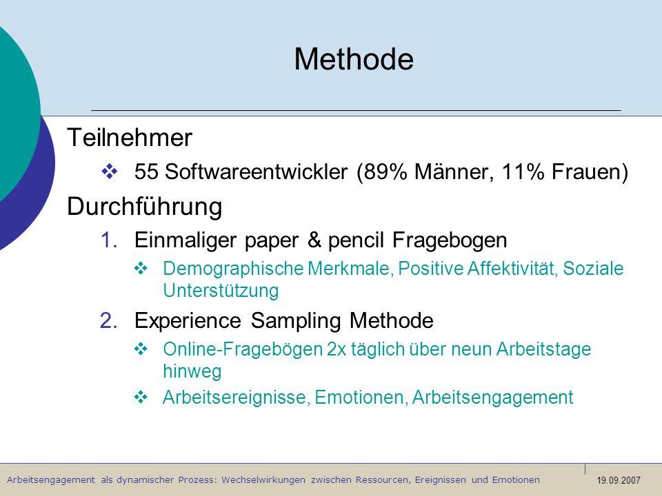 Arbeitsengagement als dynamischer Prozess: Wechselwirkungen zwischen Ressourcen, Ereignissen und Emotionen 19.09.2007 Methode Teilnehmer 55 Softwareen