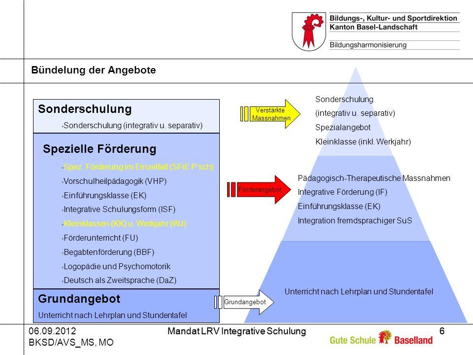06.09.2012 BKSD/AVS_MS, MO Mandat LRV Integrative Schulung6 6 Bündelung der Angebote Sonderschulung Sonderschulung (integrativ u.