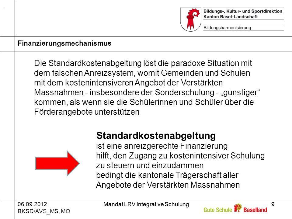 06.09.2012 BKSD/AVS_MS, MO Mandat LRV Integrative Schulung9 9 Finanzierungsmechanismus.