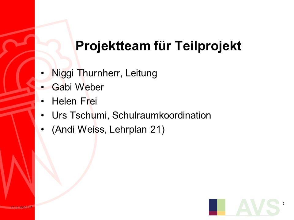 2 AVS 17.11.2010 / NT Projektteam für Teilprojekt Niggi Thurnherr, Leitung Gabi Weber Helen Frei Urs Tschumi, Schulraumkoordination (Andi Weiss, Lehrp