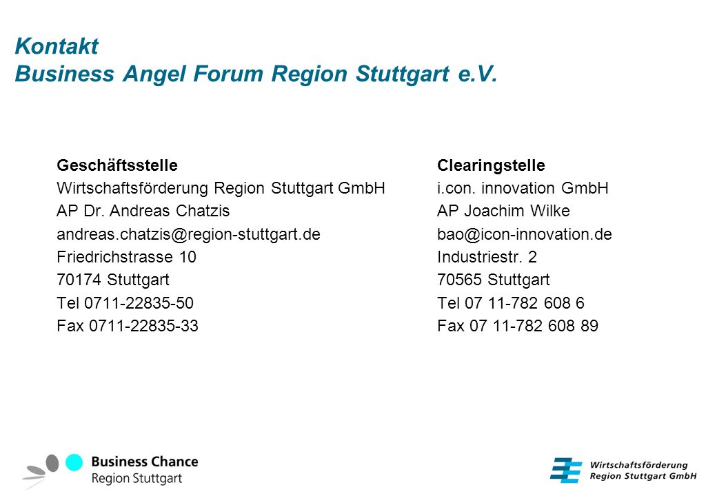 Kontakt Business Angel Forum Region Stuttgart e.V.